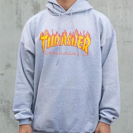 SUDADERA THRASHER FLAME HOOD GREY
